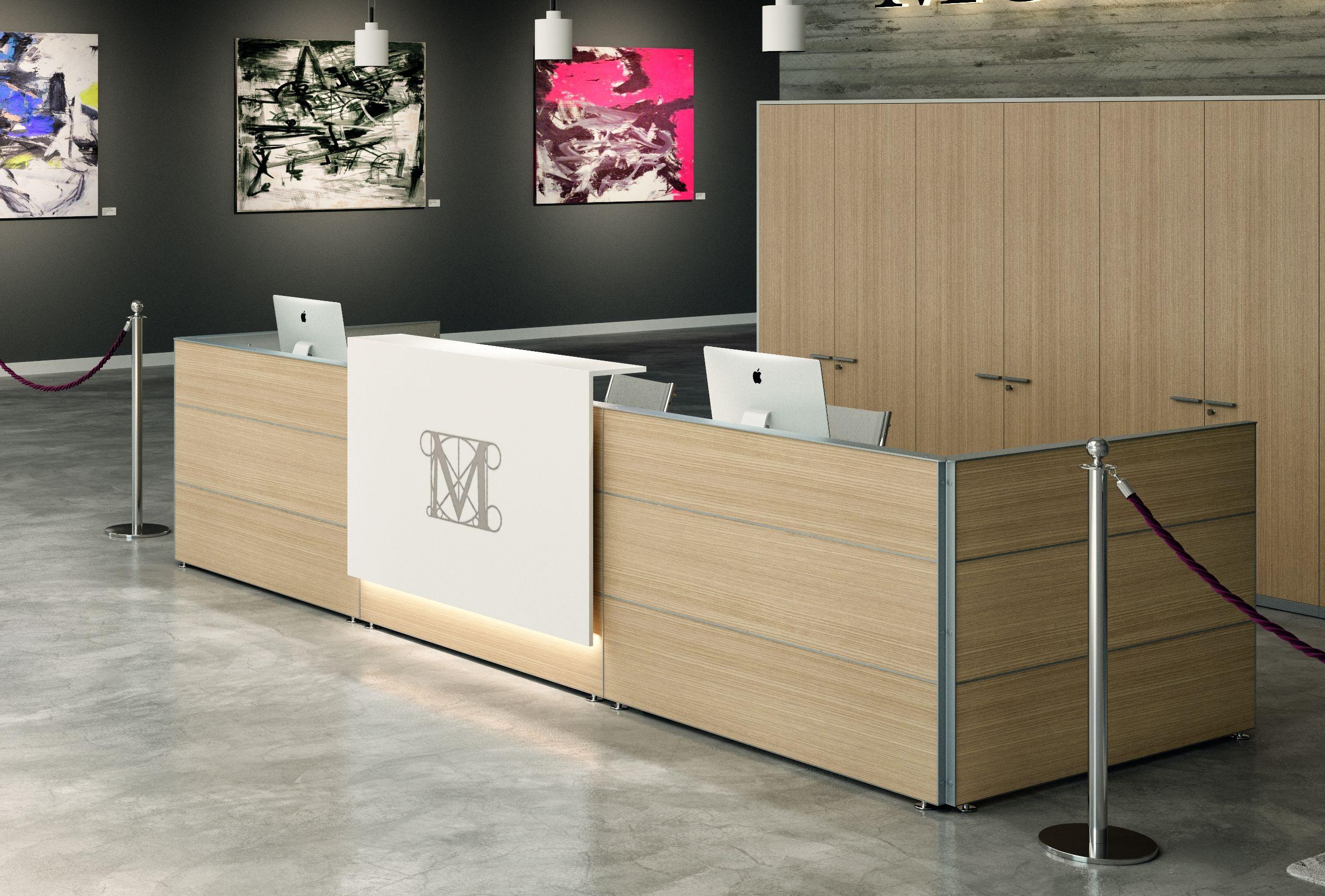 Design Empfangstheke/Rezeption mit Konsole, 428x150x74-110 cm ...