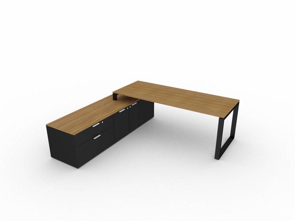 Chefschreibtisch-mit-grossem-Sideboard-Nussbaum-Schwarz