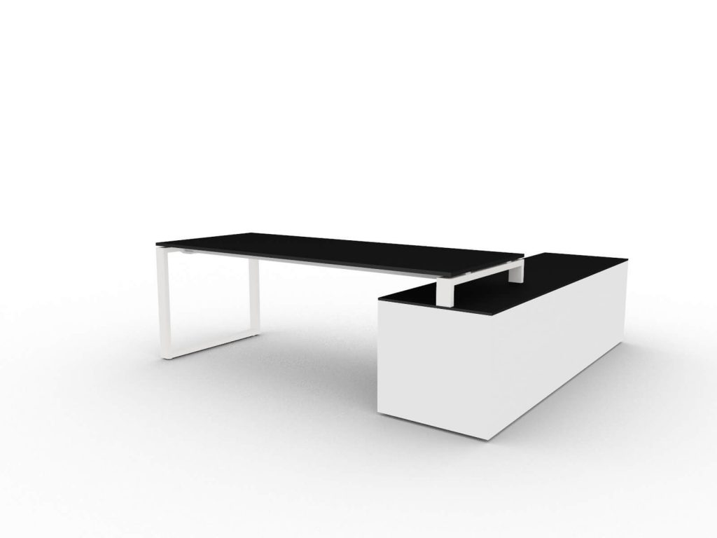 Chefschreibtisch-mit-grossem-Sideboard-Schwarz-Weiss