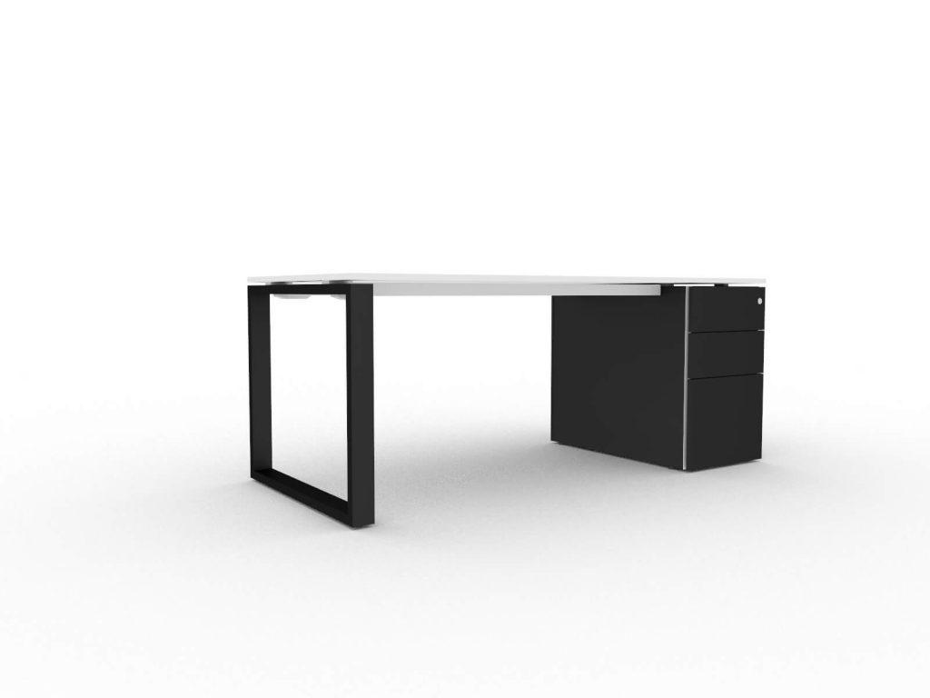 Schreibtisch-mit-Unterbaucontainer-Loopy-Weiss-Schwarz