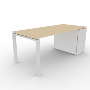 Schreibtisch mit Container GLIDER_weiß