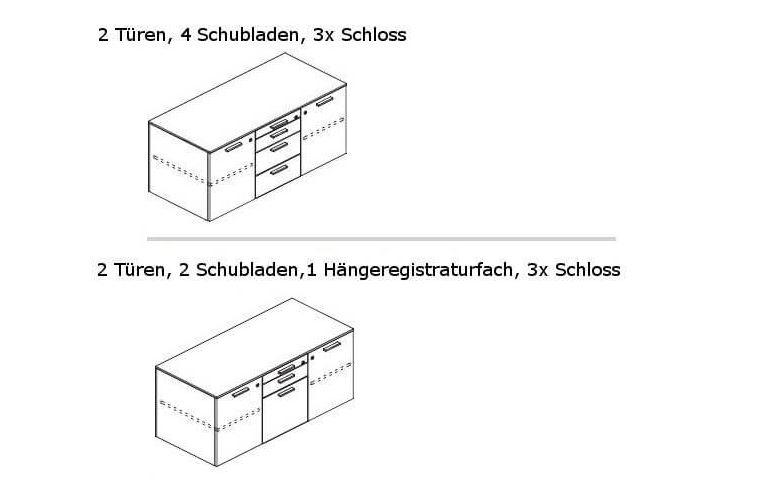Schreibtisch mit Sideboard GLIDER Ausführung