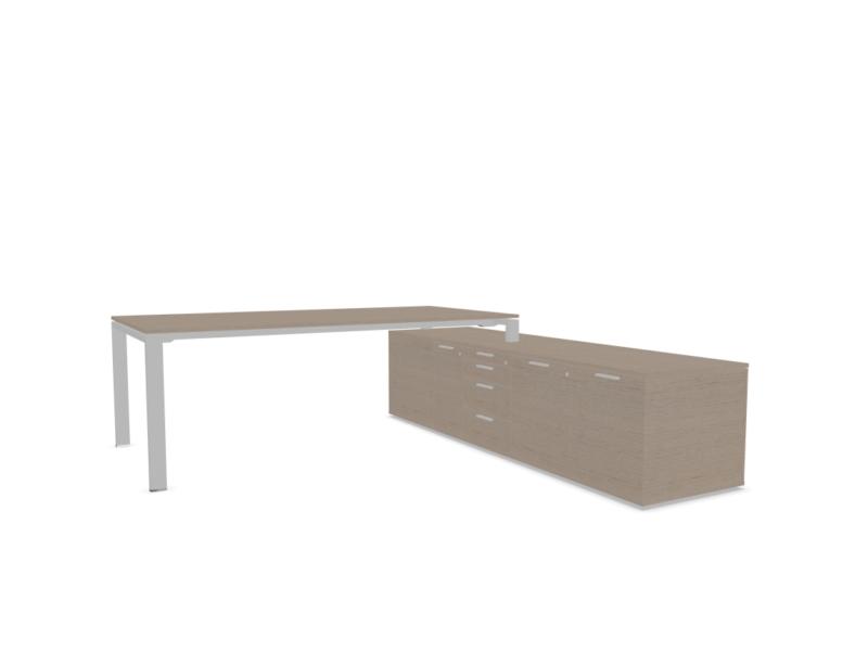 Schreibtisch-mit-Sideboard-Glider-Furnier-Eiche-grau