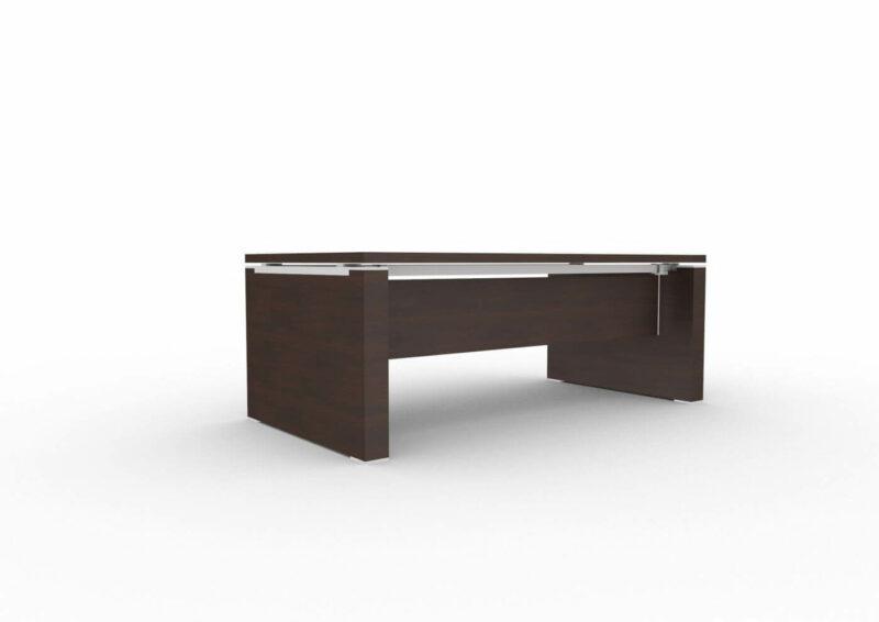 Schreibtisch-mit-Wangengestell-und-Knieraumblende-Wenge-Serie-Jet