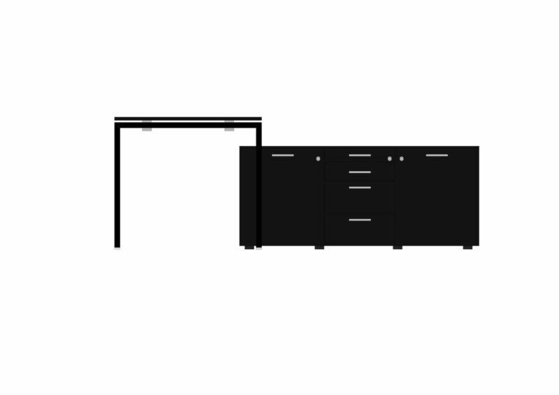 Schreibtisch-mit-kleinem-Sideboard-schwarz