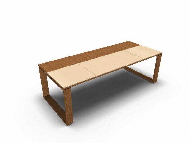 Schreibtisch Arche Leder-Holz_3