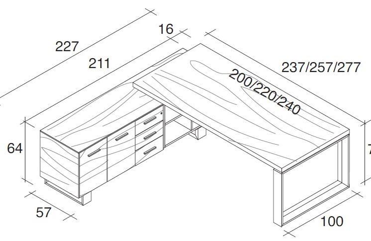 schreibtisch mit sideboard arche klassiker direkt. Black Bedroom Furniture Sets. Home Design Ideas