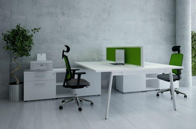 2 Personen Schreibtisch mit Sideboard