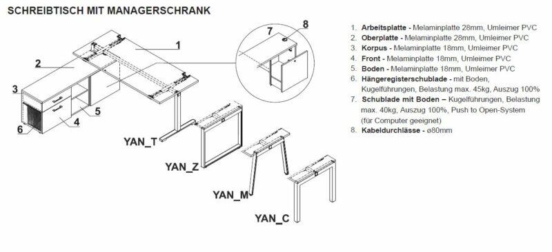 Schreibtisch mit Sideboard YAN_T_7