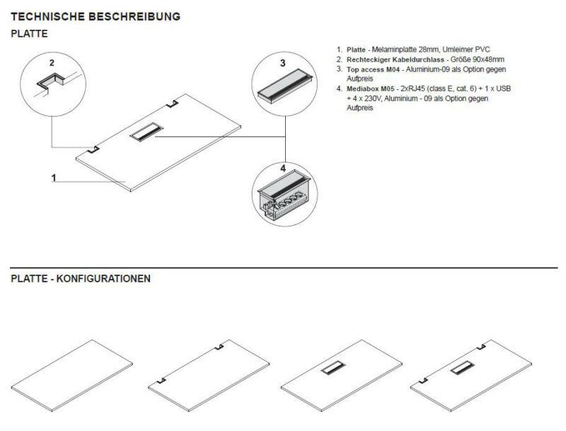 Schreibtisch mit Sideboard YAN_T_8