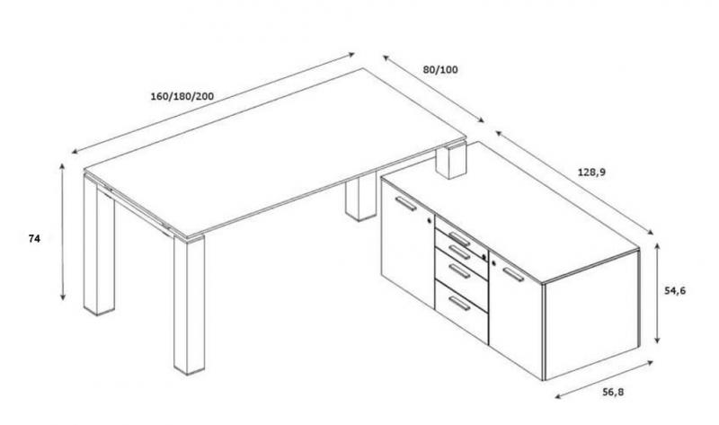Glasschreibtisch-Jet-Evo-mit-Sideboard-klein-Abmessungen-neu