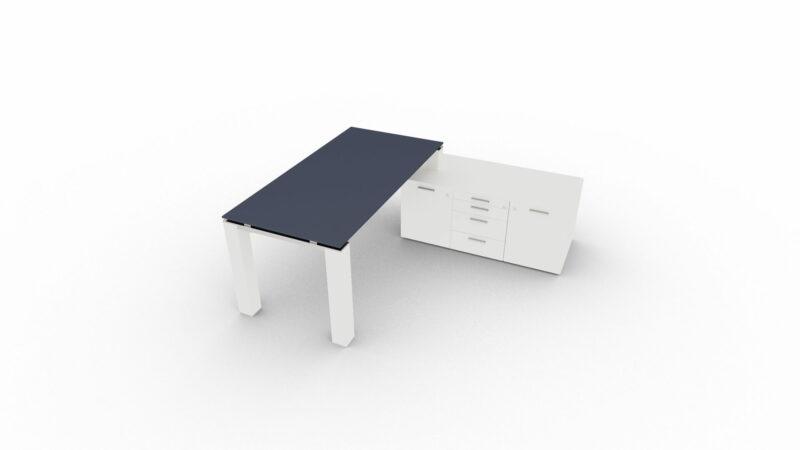 Schreibtisch-Jet Evo-mit-kleinem-Sideboard-Glasplatte-Titan