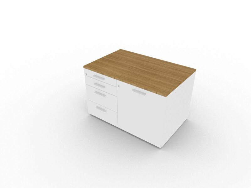 Sideboard-klein-Nussbaum-Weiss