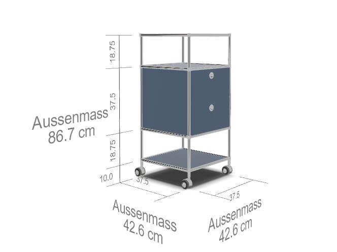 Rollcontainer-2-Schubladen-Ablagefach