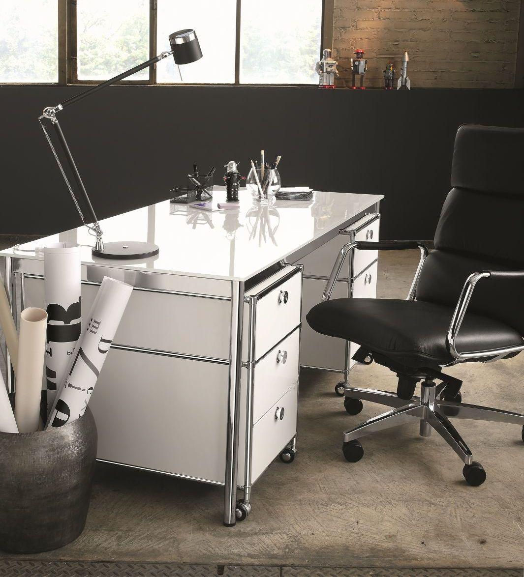 Schreibtisch glas lackiert viasit klassiker direkt for Schreibtisch glas
