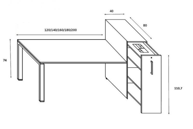 Schreibtisch GLIDER mit Vertical File hoch