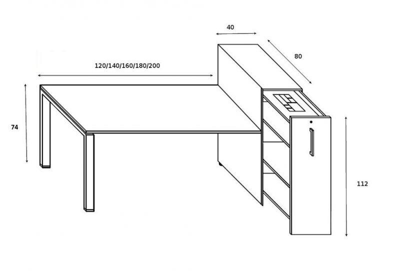 Schreibtisch GLIDER mit Vertical File hoch Skizze