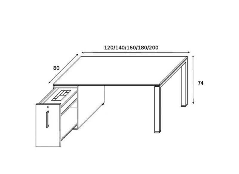 Schreibtisch GLIDER mit vertical File-Skizze
