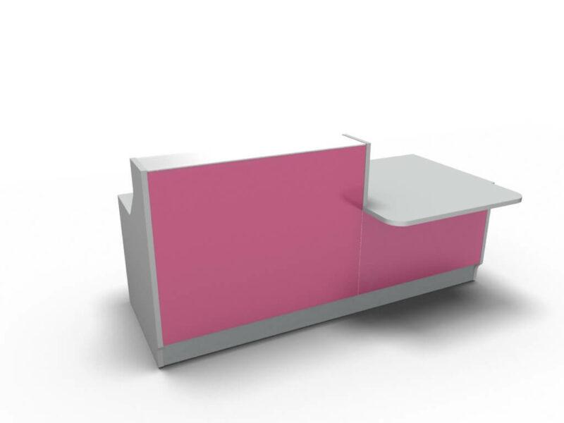Empfangstisch-Deno-LIN34L-silber-pink