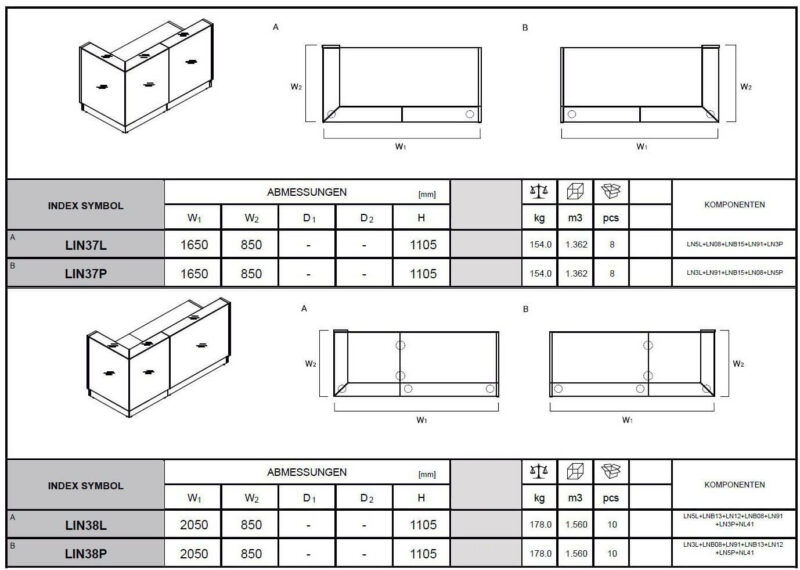 Empfangstheke-Deno-LIN37-Abmessungen