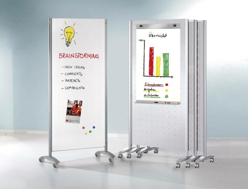 Praesentationswand-Metropol-Whiteboard-mit-Rollen