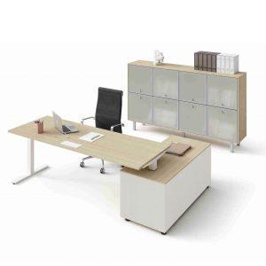 Schreibtisch-Winglet-mit-Sideboard-Eiche-Weiss