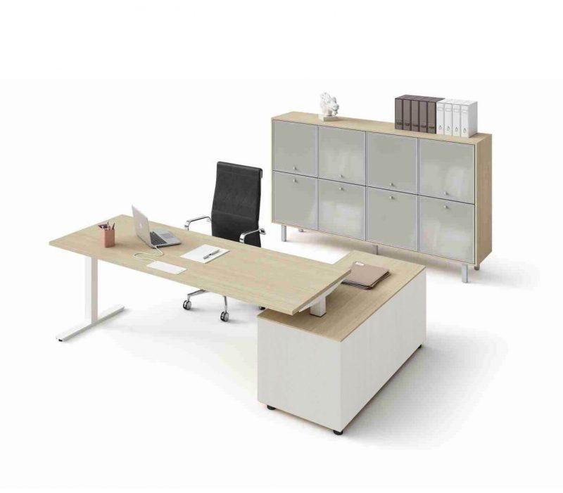 Schreibtisch mit Sideboard Winglet Eiche Weiß