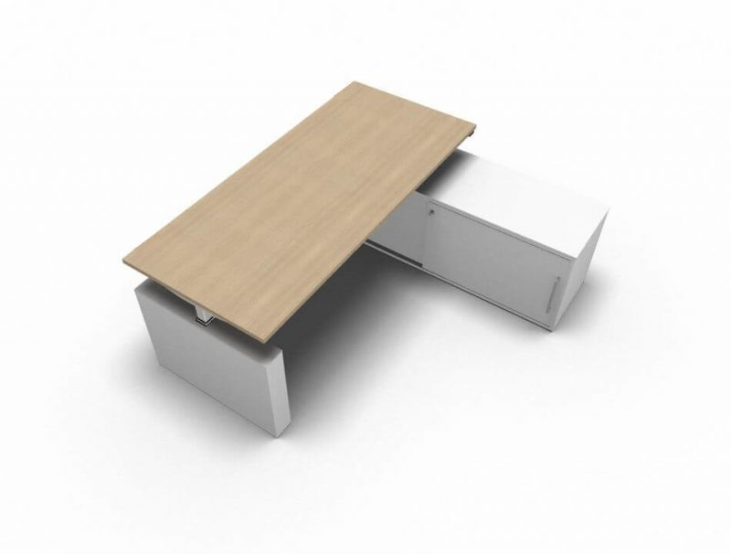 Schreibtisch-mit-Sideboard-hoehenverstellbar-Eiche