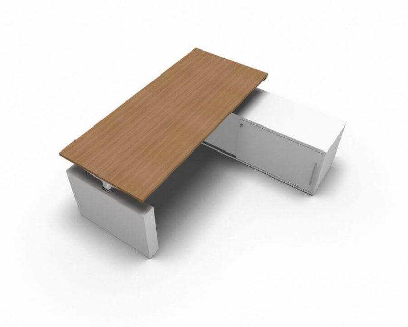 Schreibtisch-mit-Sideboard-hoehenverstellbar-Nussbaum