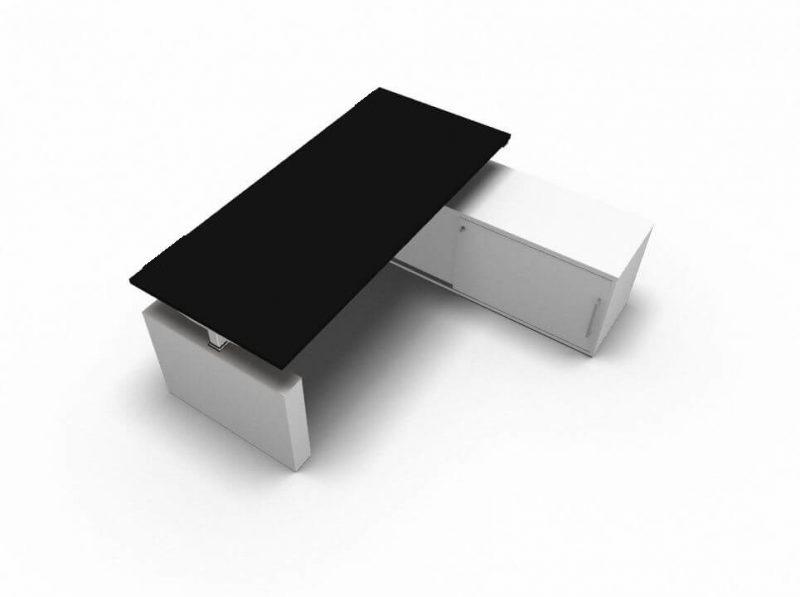 Schreibtisch-mit-Sideboard-hoehenverstellbar-Schwarz