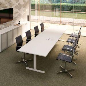 Konferenztisch mit T-Fuß Weiß Serie Winglet
