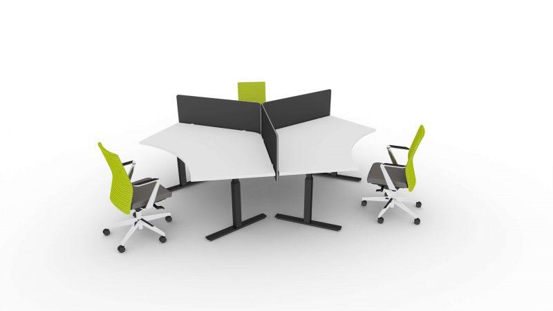 Schreibtisch-fuer-3-Personen-elektrisch-hoehenverstellbar-Winglet-Gestell-Schwarz