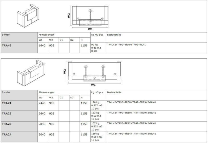 Empfangstheke-Vivo-TRA42-TRA24-Abmessungen