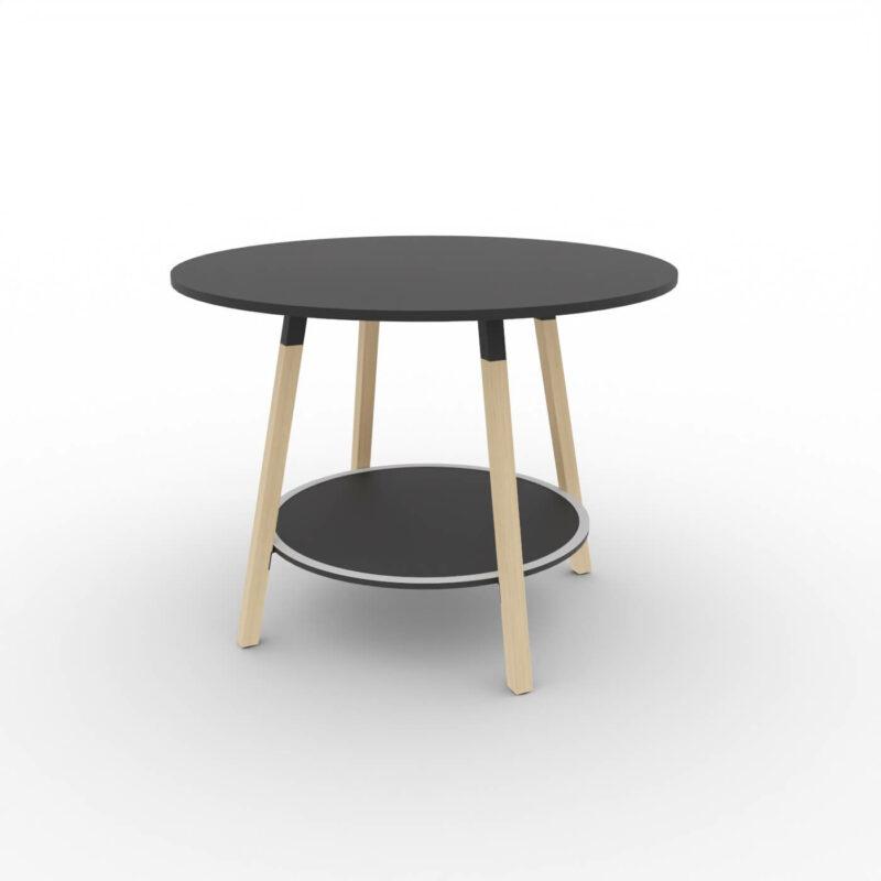 Hochtisch-rund-Holzbeine-Tischplatte-schwarz