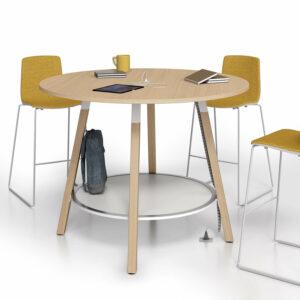 Hochtisch-rund-Polare-Tischplatte-Eiche-Natur