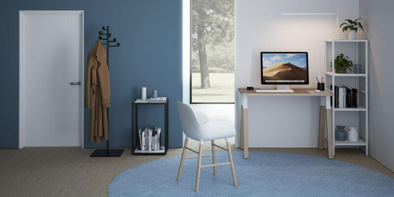 Homeoffice-Schreibtisch-mit-Holzbeinen-Polare