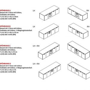 Sideboards-ohne Frontalfach-Ausführungen