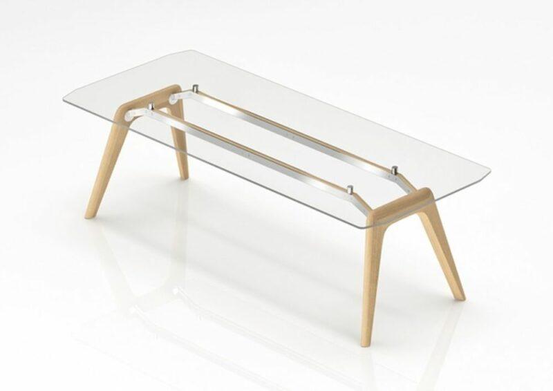 Glas-Schreibtisch Rail